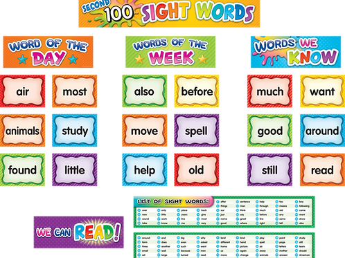 100 Sight Words Pocket Chart Cards