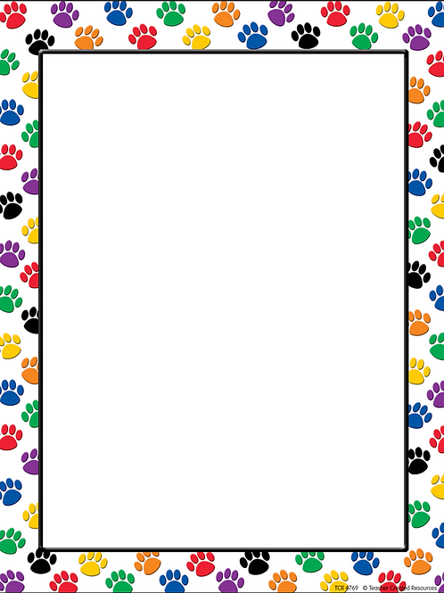 Colorful Paw Prints Computer Paper