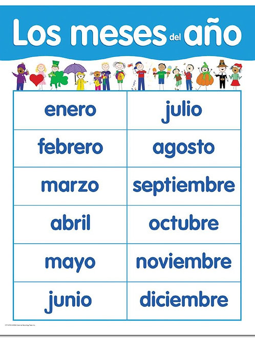 MONTHS OF THE YEAR CHART SPANISH