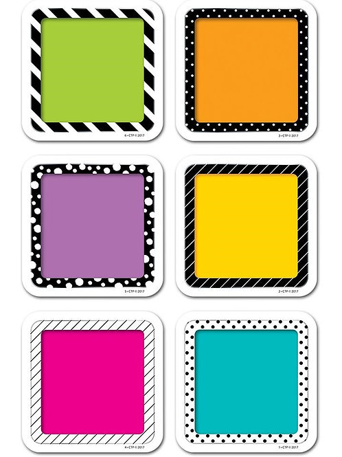 """Bold & Bright Colorful Cards 3"""" Designer Cut-Outs"""