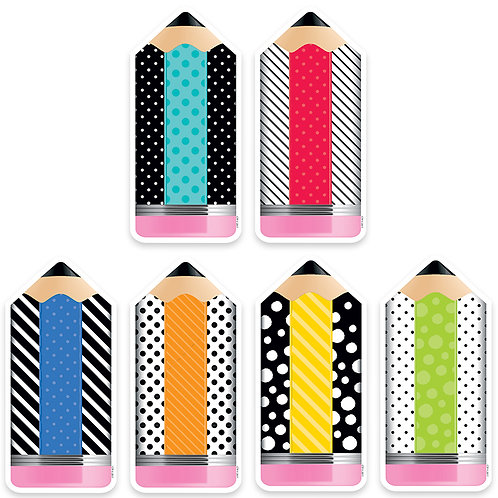 "Bold & Bright Striped & Spotted Pencils 6"" Designer Cut-Outs"