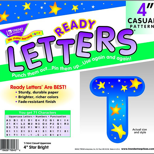 Ready Letters Star Bright 4-Inch Casual Uppercase
