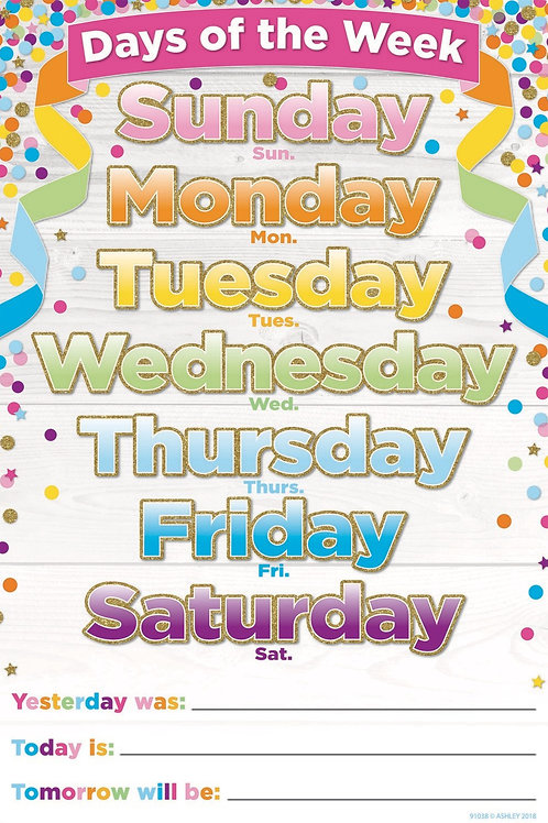 """Confetti Days of the Week Smart Poly™ Chart 13""""x19"""""""