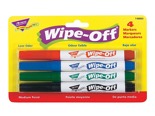 Standard Colors Wipe-Off® Markers 4 Pack