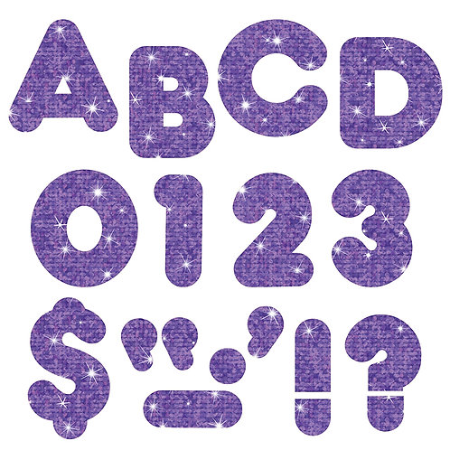 Ready Letters Purple Sparkle 4-Inch Casual Uppercase