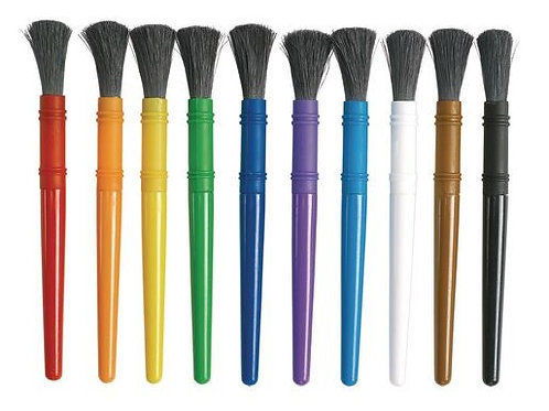 Colorations® Plastic Handle Chubby Paint Brushes with Nylon Bristles - Set of 10