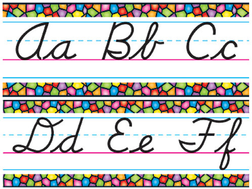 Stained Glass Alphabet Lines - Modern Cursive