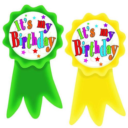 Birthday Ribbons Wear'Em Badges