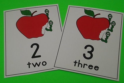 Apple and Worms Number Flashcards  0-10
