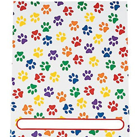 Cardboard Paw Print Pocket Folders