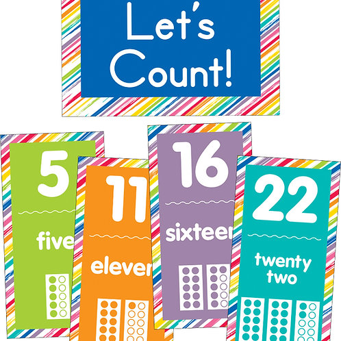 Just Teach Number Cards Bulletin Board Set