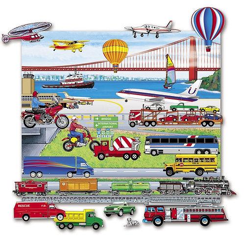 Trucks, Trains & Planes, Playboard Set-Felt
