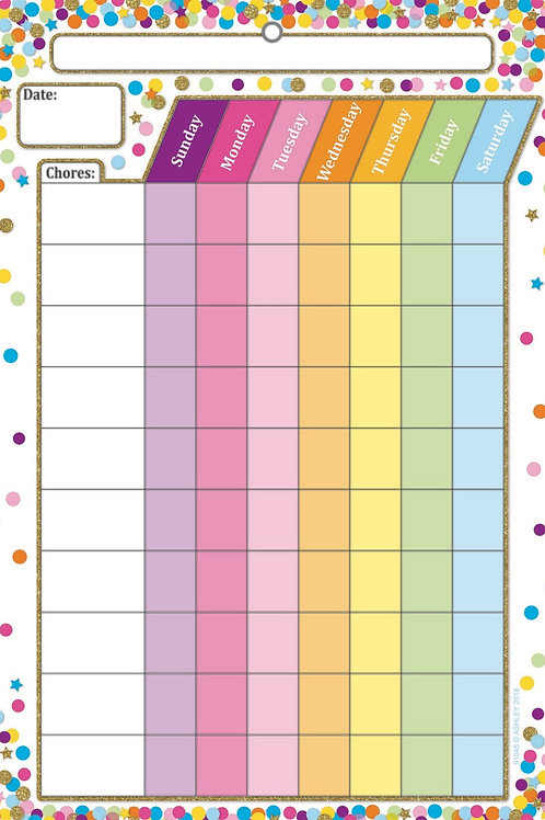 "Confetti Chores Smart Poly™ Chart 13""x19"""