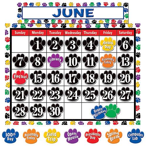 Colorful Paw Prints Calendar Display Set