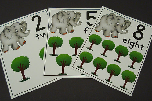 Elephant and Trees Number Flashcards  0-10