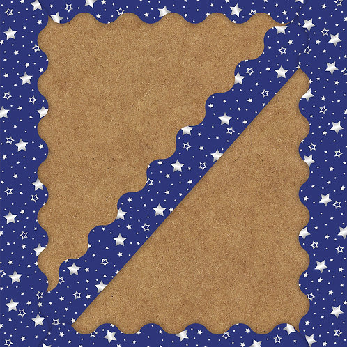 Navy with Foil Stars Scalloped Borders