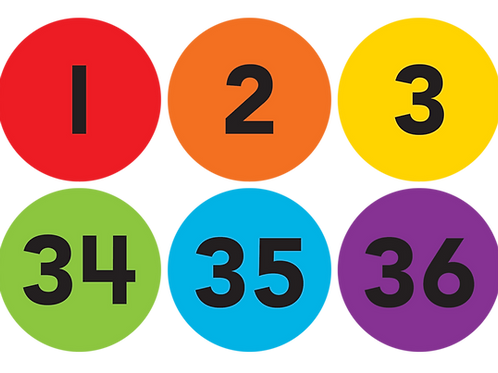 """Spot On Numbers 1-36 Carpet Markers - 4"""""""