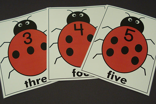 Lady Bug with Dots Number Flashcards  0-10