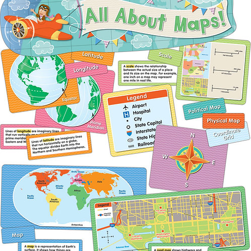 All About Maps Mini Bulletin Board Set