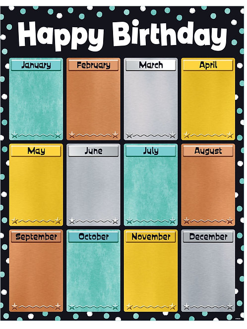 Birthday I ♥ Metal™ Learning Chart