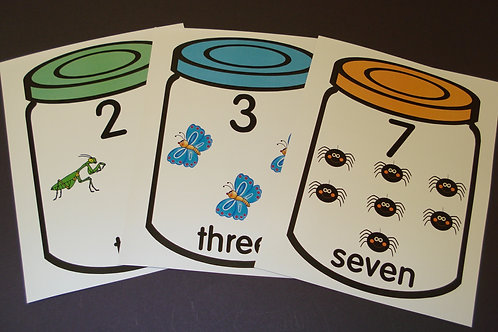 Jar and Bugs Number Flashcards  0-10