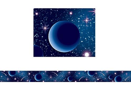 Blue Stellar Space Straight Border