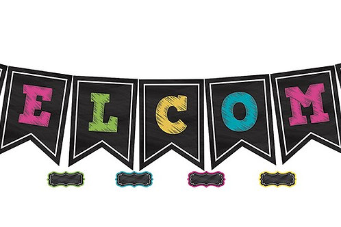 Chalkboard Brights Pennants Welcome