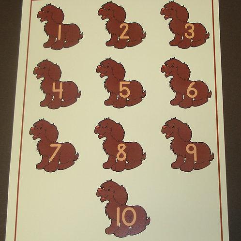 Dog Number Flashcard -Single Flashcard