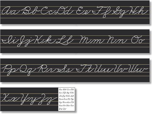 Alphabet Lines - Black Cursive