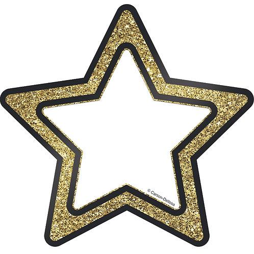 Gold Glitter Stars 5 inch Cut-Outs
