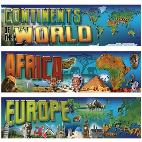 Continents of the World Mini Bulletin Board Set