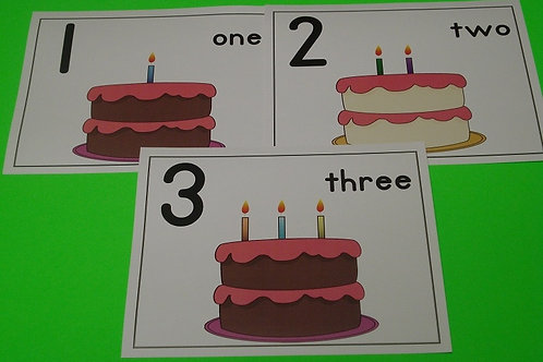 Birthday Cake with Candles Number Flashcards   0-10