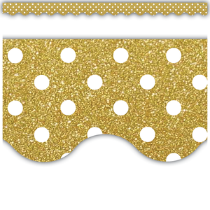 Gold Shimmer Polka Dots Scalloped Border Trim