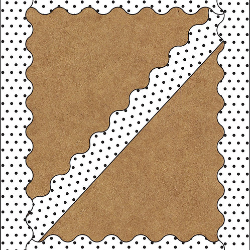 White with Black Dots Scalloped Borders