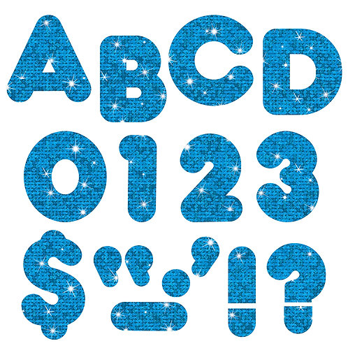 Ready Letters Blue Sparkle 4-Inch Casual Uppercase