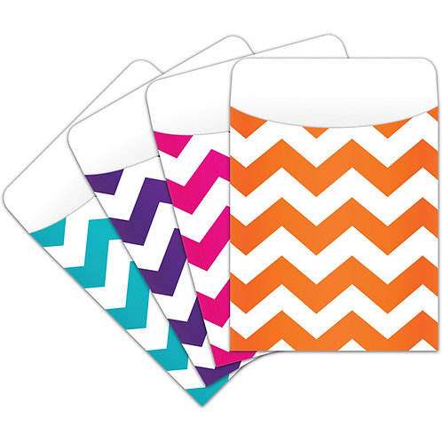 CHEVRON PEEL & STICK POCKETS Library Pockets