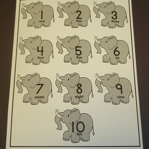Elephant Number Flashcard - Single Flashcard