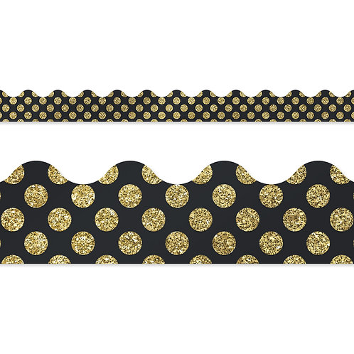 Gold Glitter Dots Scalloped Borders