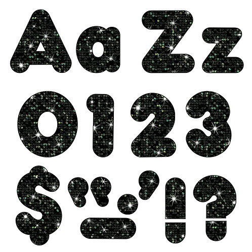 Ready Letters Black Sparkle 4-Inch Casual Uppercase/Lowercase