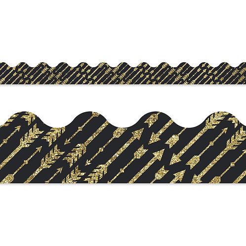 Gold Glitter Arrows Scalloped Borders