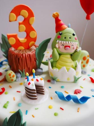Dino Party 3rd Birthday Cake