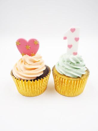 Heart & No.1 Cupcakes