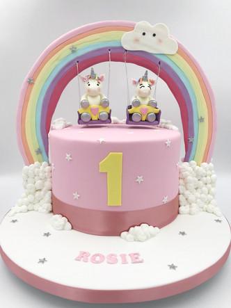 Unicorn Rainbow Swing Cake