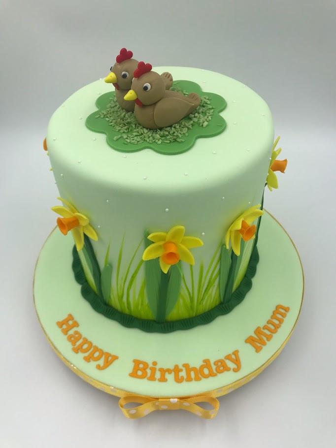 Daffodil & Chicken Themed Cake