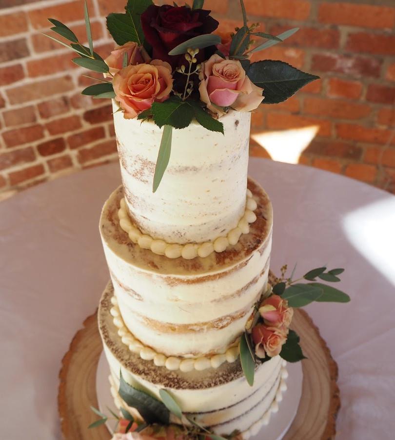 3 Tier Semi-Naked Rose Cake