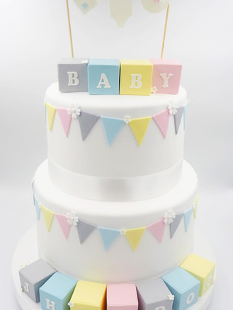 Baby Shower Building Block Cake
