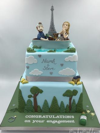 2 Tier Paris Proposal Cake