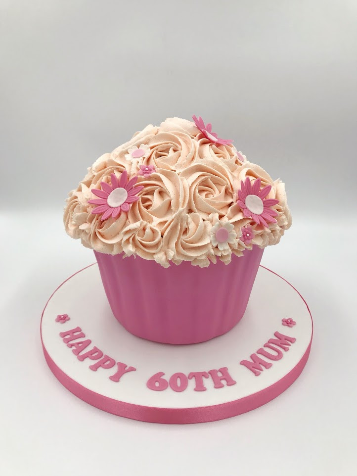 Pink Floral Giant Cupcake