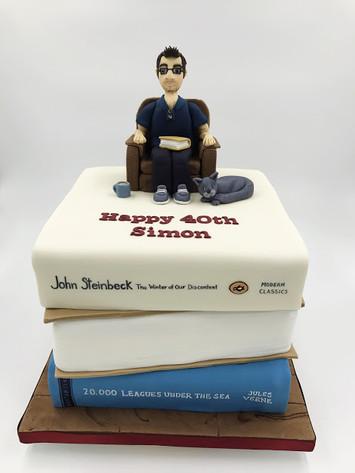 40th Book Stack Cake