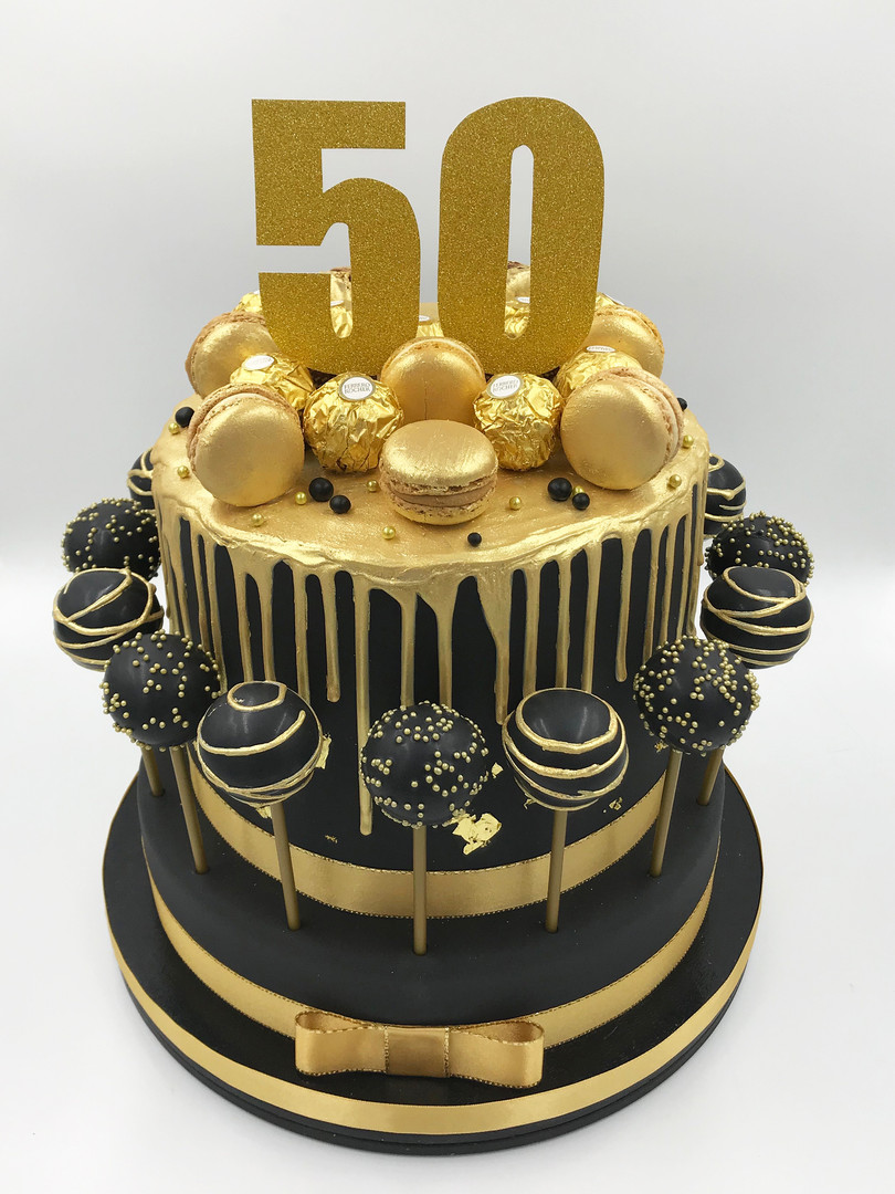 50th Birthday Drip Cake with Cake Pops